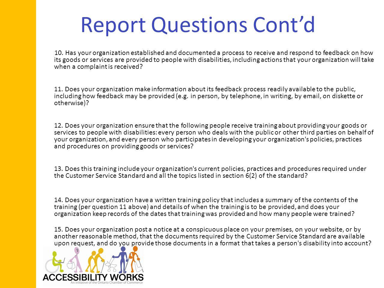 Report Questions Contd 10.