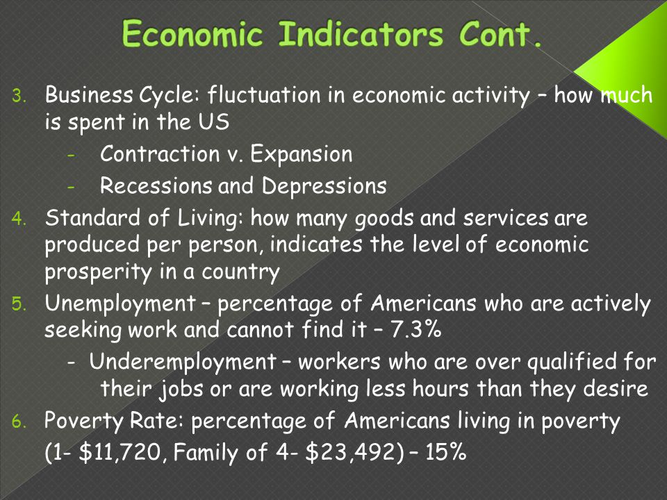 3. Business Cycle: fluctuation in economic activity – how much is spent in the US - Contraction v.