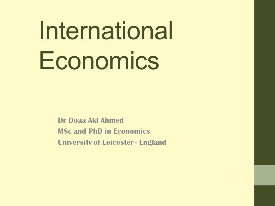 International Economics Dr Doaa Akl Ahmed MSc and PhD in Economics University of Leicester - England