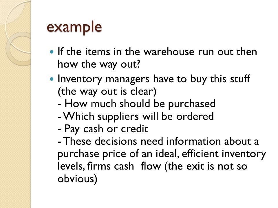 example If the items in the warehouse run out then how the way out? Inventory managers have to buy this stuff (the way out is clear) - How much should