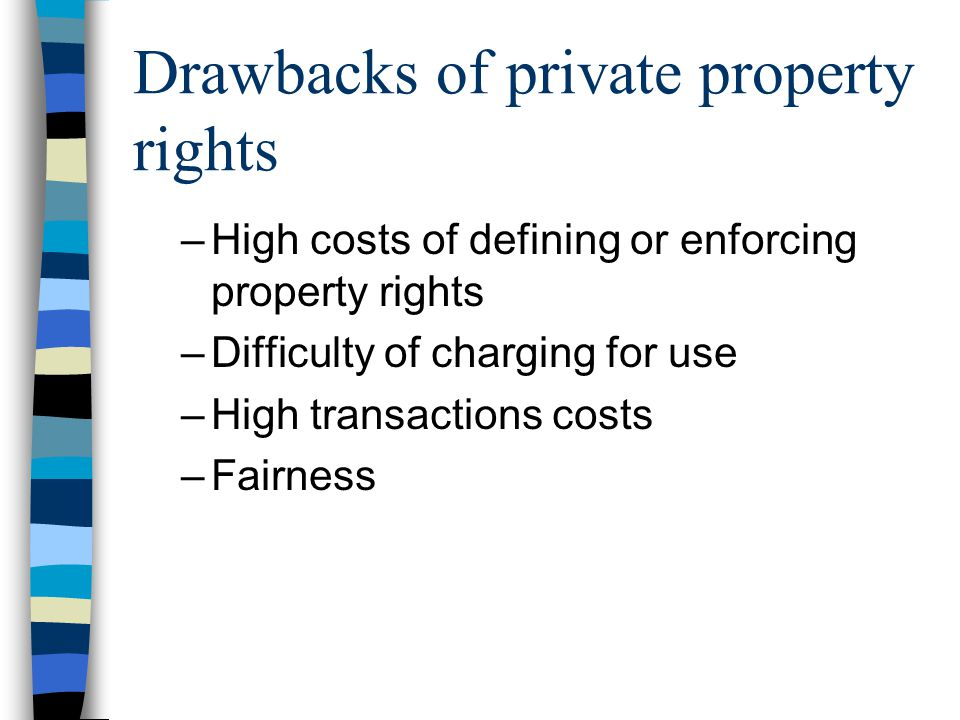 Drawbacks of private property rights –High costs of defining or enforcing property rights –Difficulty of charging for use –High transactions costs –Fairness