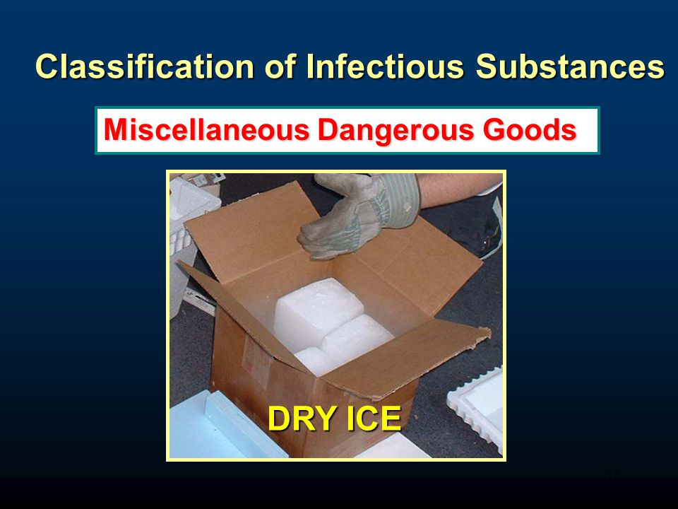 18 Classification of Infectious Substances Miscellaneous Dangerous Goods DRY ICE