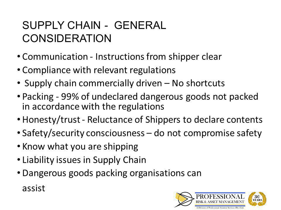 SUPPLY CHAIN - GENERAL CONSIDERATION Communication - Instructions from shipper clear Communication - Instructions from shipper clear Compliance with r