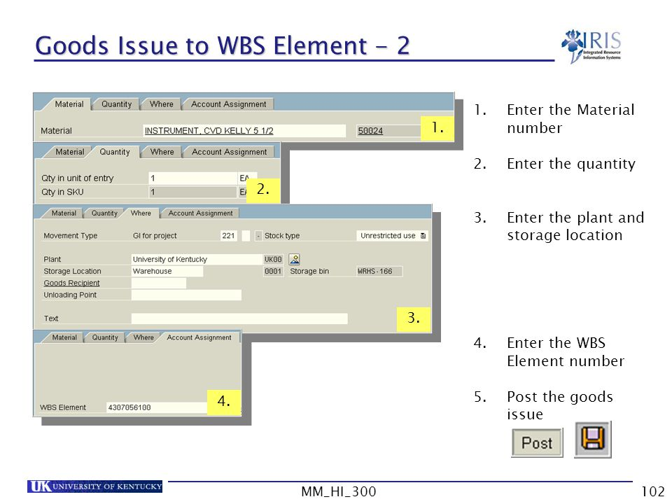 MM_HI_300102 Goods Issue to WBS Element - 2 1.Enter the Material number 2.Enter the quantity 3.Enter the plant and storage location 4.Enter the WBS Element number 5.Post the goods issue 1.