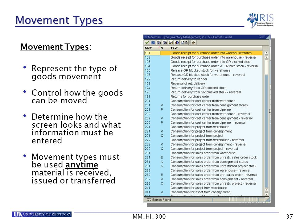 MM_HI_30037 Movement Types Movement Types: Represent the type of goods movement Control how the goods can be moved Determine how the screen looks and what information must be entered Movement types must be used anytime material is received, issued or transferred