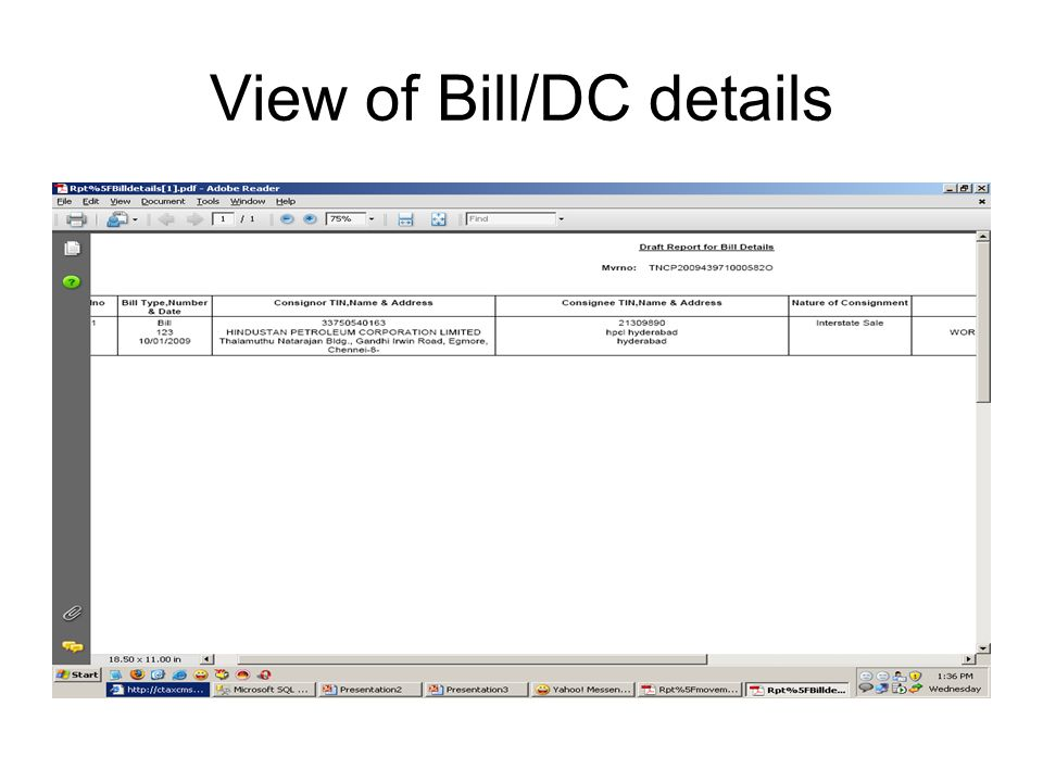 View of Bill/DC details