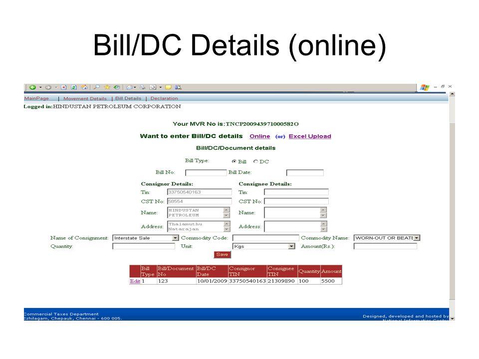 Bill/DC Details (online)