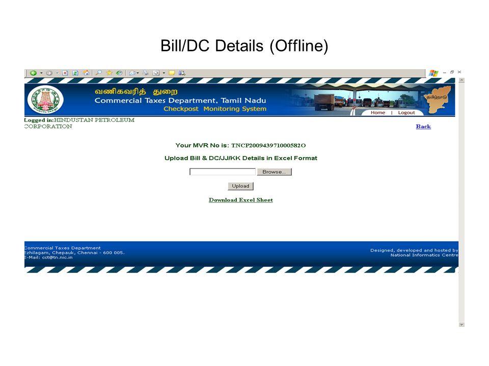 Bill/DC Details (Offline)