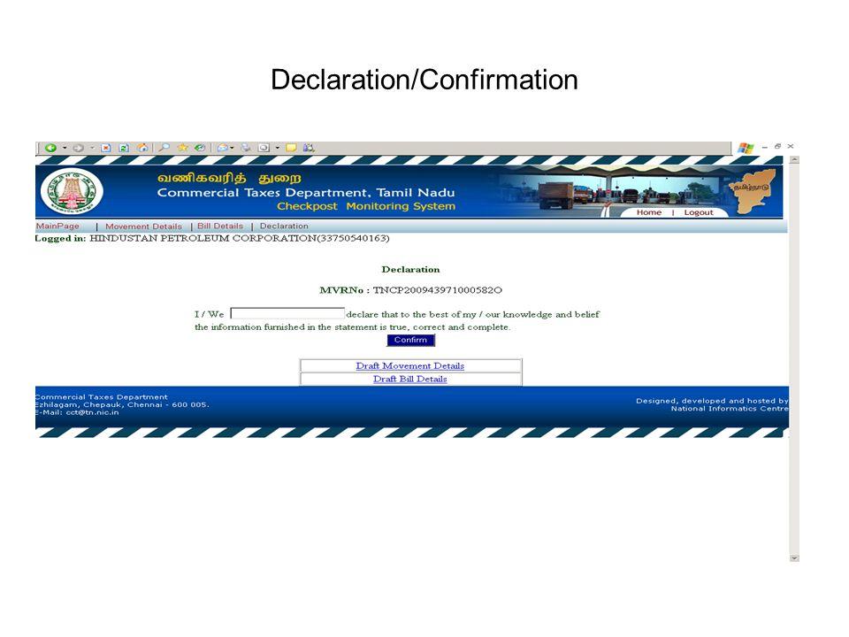 Declaration/Confirmation