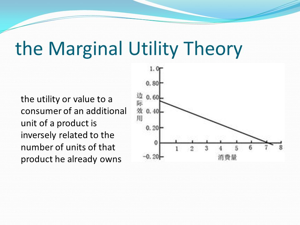 the Marginal Utility Theory the utility or value to a consumer of an additional unit of a product is inversely related to the number of units of that