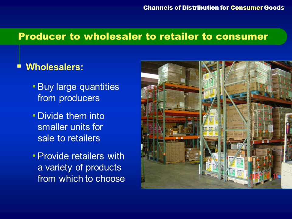 Most common channel of distribution for consumer goods Used because: Many producers cannot offer small shipments. So, they require buyers to place lar