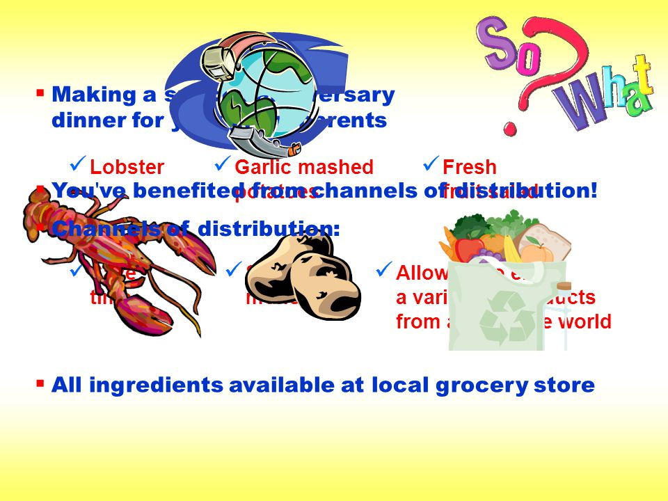 How Intermediaries Help in Channels of Distribution Buy big and sell small Buy large quantities of goods from producers Sell smaller quantities to other intermediaries or consumers By placing large orders with producers, are able to reduce the per-unit cost for goods, allowing them to make a profit and/or pass some of the savings along to consumers