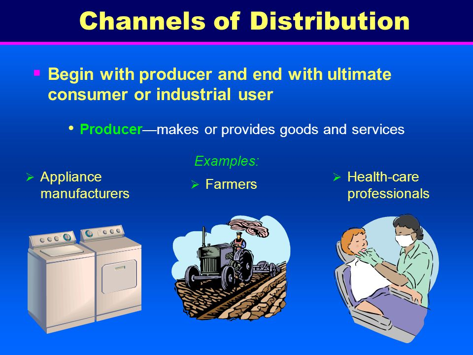 Channels of Distribution for Industrial Goods Direct distribution Most common channel for industrial goods since producers often provide specialized services Separate from channels for consumer goods, but similar Producer to industrial user