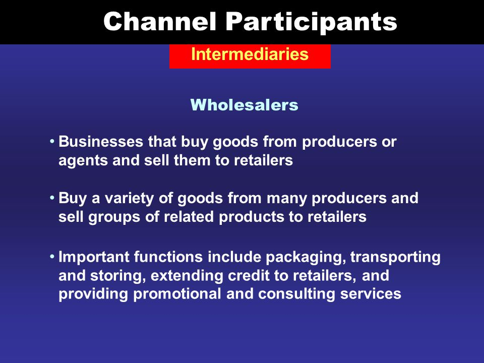 Producer to agent to industrial distributor to user Channels of Distribution for Industrial Goods Used when a goods unit cost is not high enough to justify selling directly to industrial users Industrial distributor buys large quantities of a good from an agent and sells smaller quantities to industrial users.