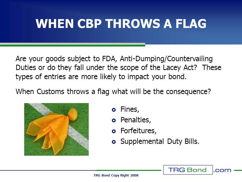 TRG Bond Copy Right 2008 WHEN CBP THROWS A FLAG Fines, Penalties, Forfeitures, Supplemental Duty Bills.