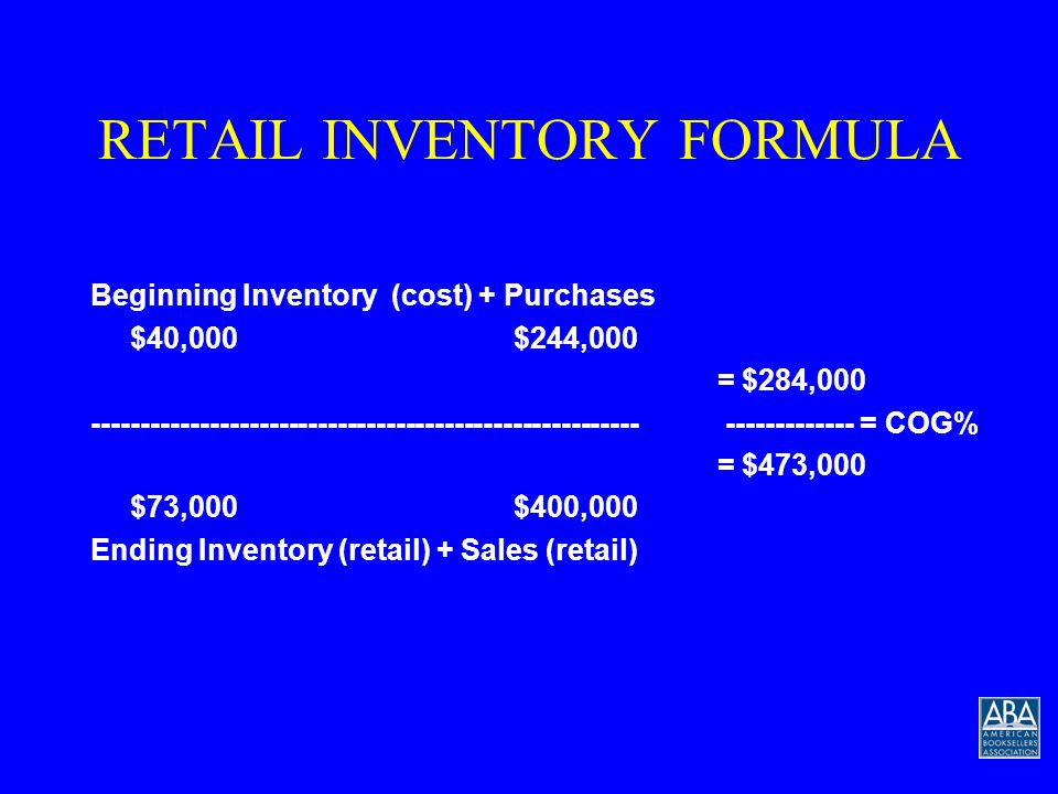 RETAIL INVENTORY FORMULA Beginning Inventory (cost) + Purchases $40,000$244,000 --------------------------------------------------------= COG% $73,000$400,000 Ending Inventory (retail) + Sales (retail)