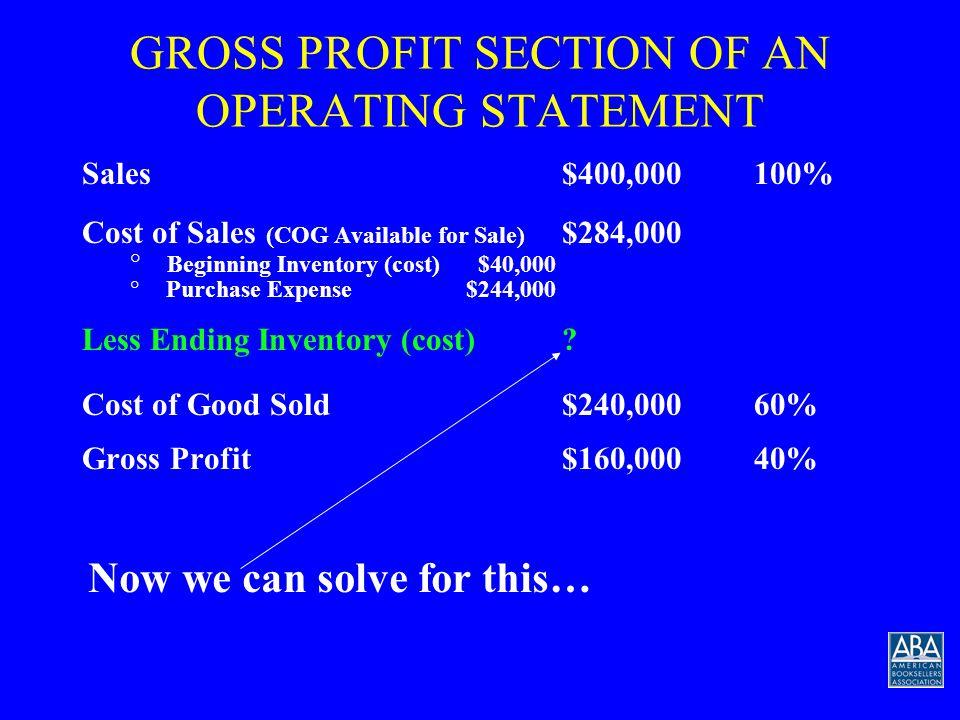 RETAIL INVENTORY FORMULA Beginning Inventory (cost) + Purchases $284,000 --------------------------------------------------------=.6004 $473,000 Ending Inventory (retail) + Sales (retail) COG% = 60%