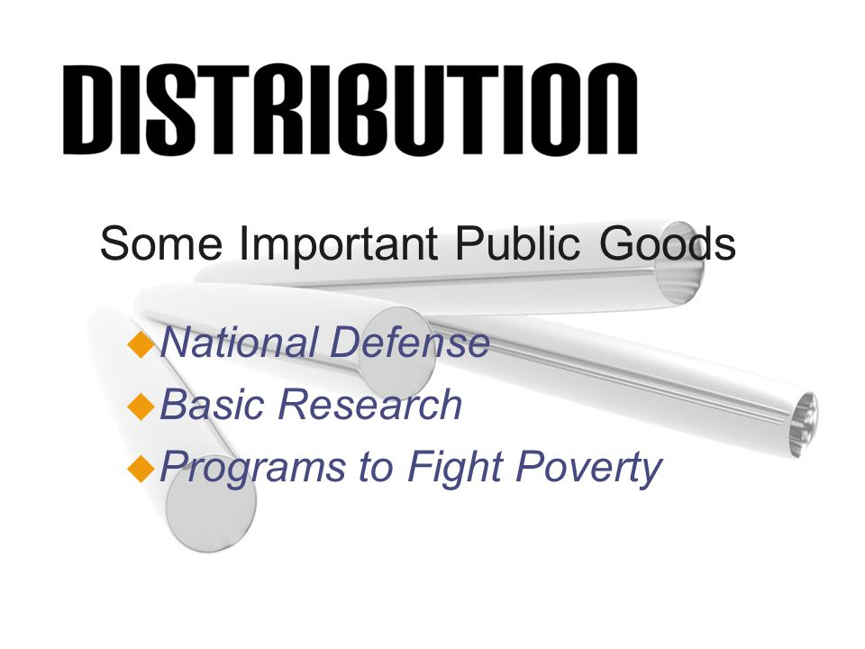 Some Important Public Goods u National Defense u Basic Research u Programs to Fight Poverty
