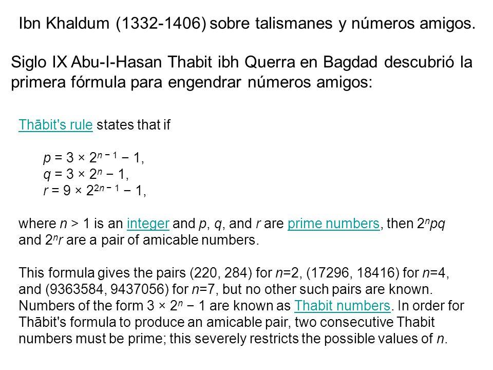 Ibn Khaldum (1332-1406) sobre talismanes y números amigos.