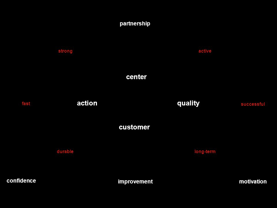 quality center customer action partnership confidence motivationimprovement successful strong durable fast long-term active