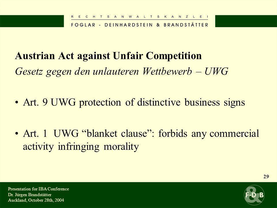 Austrian Act against Unfair Competition Gesetz gegen den unlauteren Wettbewerb – UWG Art.