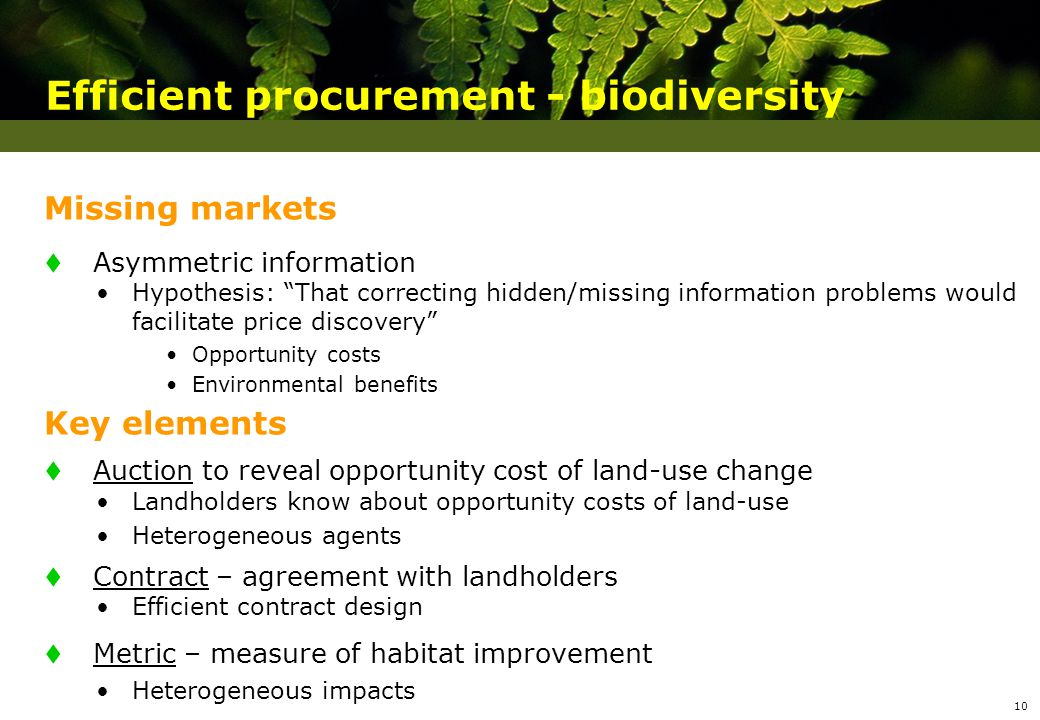 Efficient procurement - biodiversity Missing markets t Asymmetric information Hypothesis: That correcting hidden/missing information problems would facilitate price discovery Opportunity costs Environmental benefits Key elements t Auction to reveal opportunity cost of land-use change Landholders know about opportunity costs of land-use Heterogeneous agents t Contract – agreement with landholders Efficient contract design t Metric – measure of habitat improvement Heterogeneous impacts 10