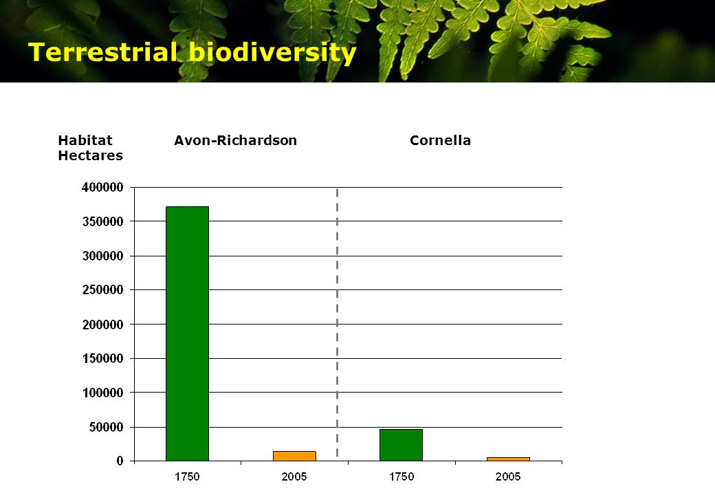Where are we? Terrestrial biodiversity HabitatAvon-RichardsonCornella Hectares