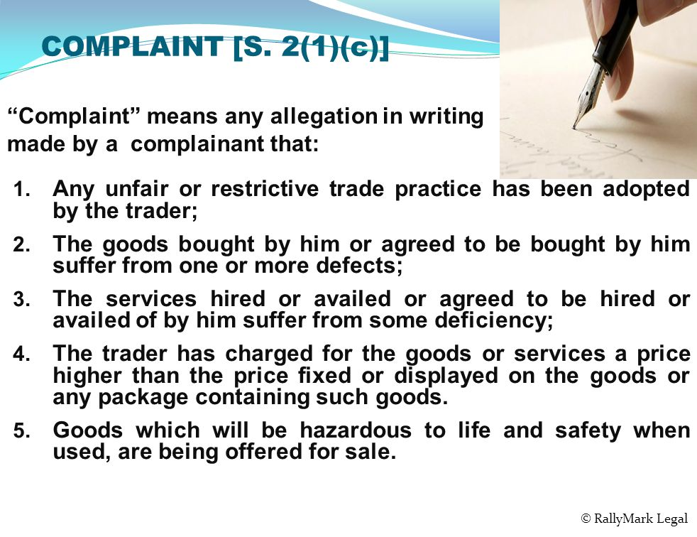 COMPLAINT [S. 2(1)(c)] 1.