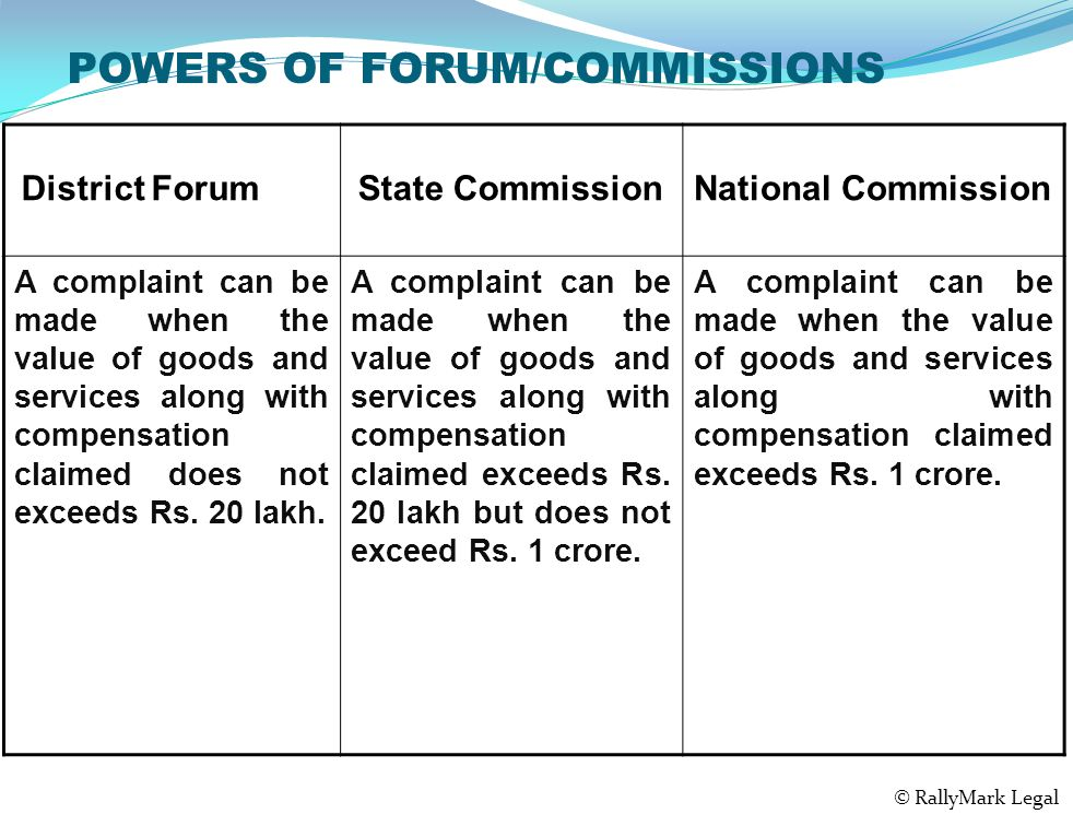 POWERS OF FORUM/COMMISSIONS District Forum State CommissionNational Commission A complaint can be made when the value of goods and services along with compensation claimed does not exceeds Rs.