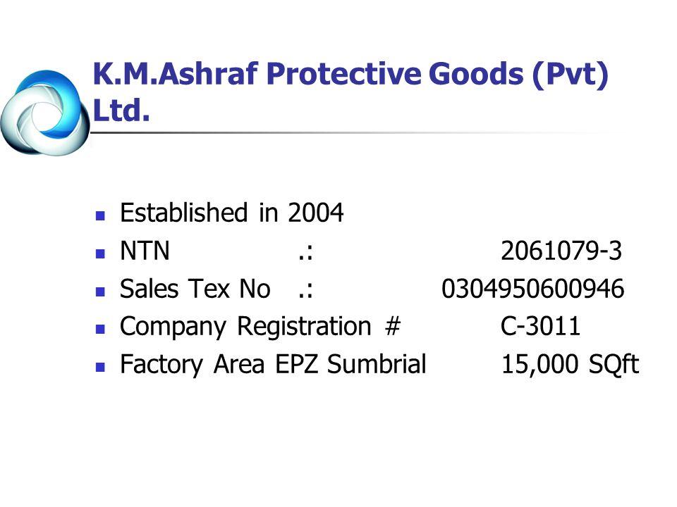 K.M.Ashraf Protective Goods (Pvt) Ltd. Established in 2004 NTN.: 2061079-3 Sales Tex No.: 0304950600946 Company Registration #C-3011 Factory Area EPZ