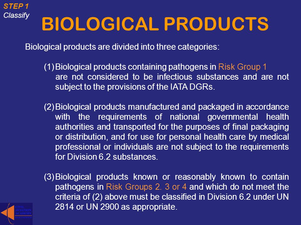 BIOLOGICAL PRODUCTS Biological products are divided into three categories: (1)Biological products containing pathogens in Risk Group 1 are not conside