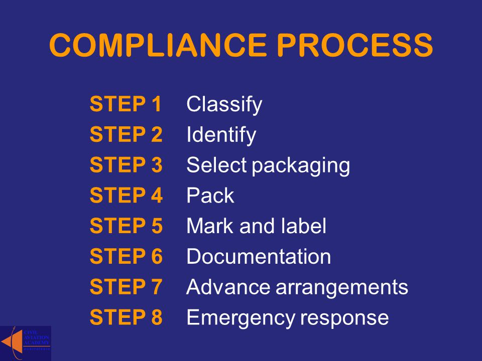 COMPLIANCE PROCESS STEP 1Classify STEP 2Identify STEP 3Select packaging STEP 4Pack STEP 5Mark and label STEP 6Documentation STEP 7Advance arrangements