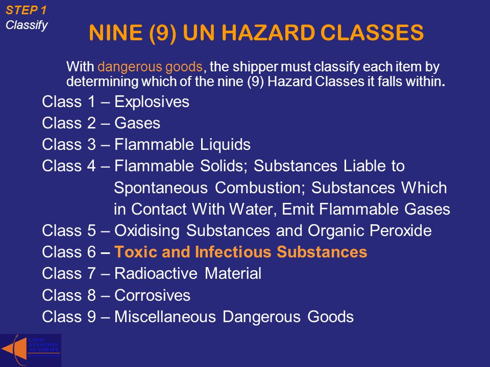 NINE (9) UN HAZARD CLASSES With dangerous goods, the shipper must classify each item by determining which of the nine (9) Hazard Classes it falls with