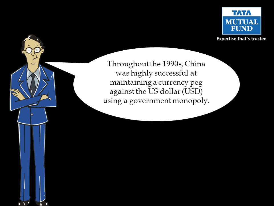 Throughout the 1990s, China was highly successful at maintaining a currency peg against the US dollar (USD) using a government monopoly.