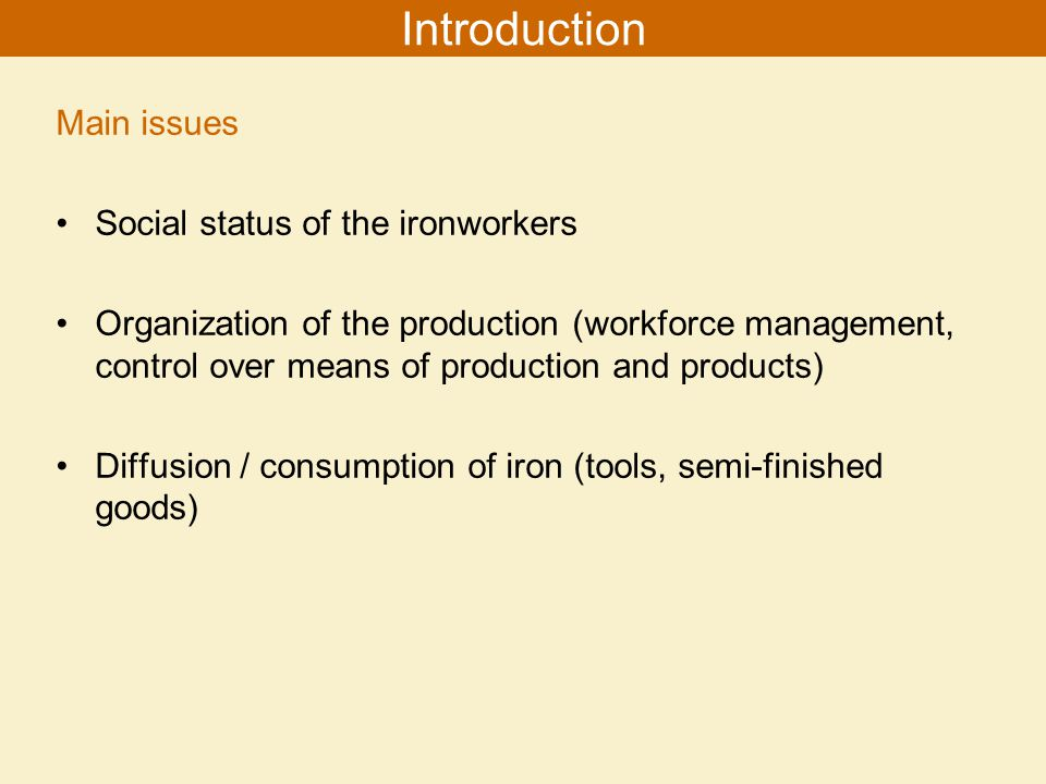 Main issues Social status of the ironworkers Organization of the production (workforce management, control over means of production and products) Diffusion / consumption of iron (tools, semi-finished goods) Introduction
