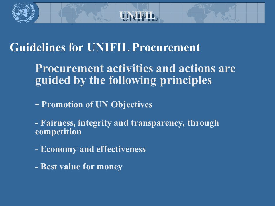 Researching Potential Vendors UNIFIL Roster Database UNIFIL Public Website UN Global Market Place Expression of Interests. Market Research - World Wid