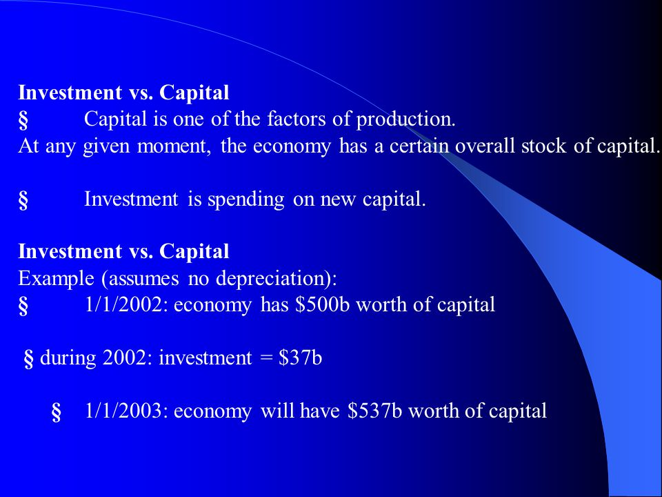 Investment (I) def1: spending on [the factor of production] capital. def2: spending on goods bought for future use. Includes: § business fixed investm