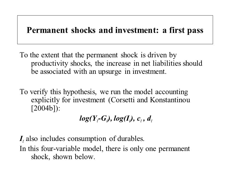 Permanent shocks and investment: a first pass To the extent that the permanent shock is driven by productivity shocks, the increase in net liabilities