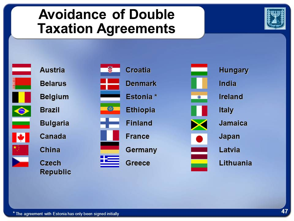 Avoidance of Double Taxation AgreementsCroatiaDenmark Estonia * EthiopiaFinlandFranceGermanyGreeceAustriaBelarusBelgiumBrazilBulgariaCanadaChina Czech Republic HungaryIndiaIrelandItalyJamaicaJapanLatviaLithuania * The agreement with Estonia has only been signed initially 47