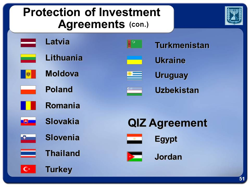 TurkmenistanUkraineUruguayUzbekistan QIZ Agreement EgyptJordan LatviaLithuaniaMoldovaPolandRomaniaSlovakiaSloveniaThailandTurkey Protection of Investment Agreements (con.) 51
