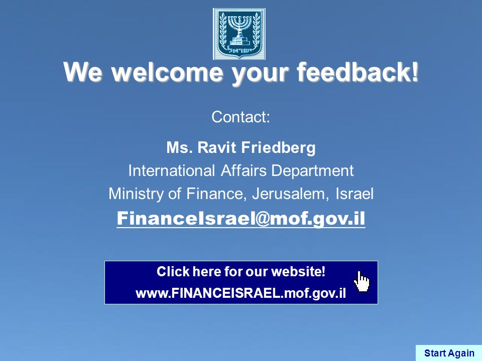We welcome your feedback. Contact: Ms.