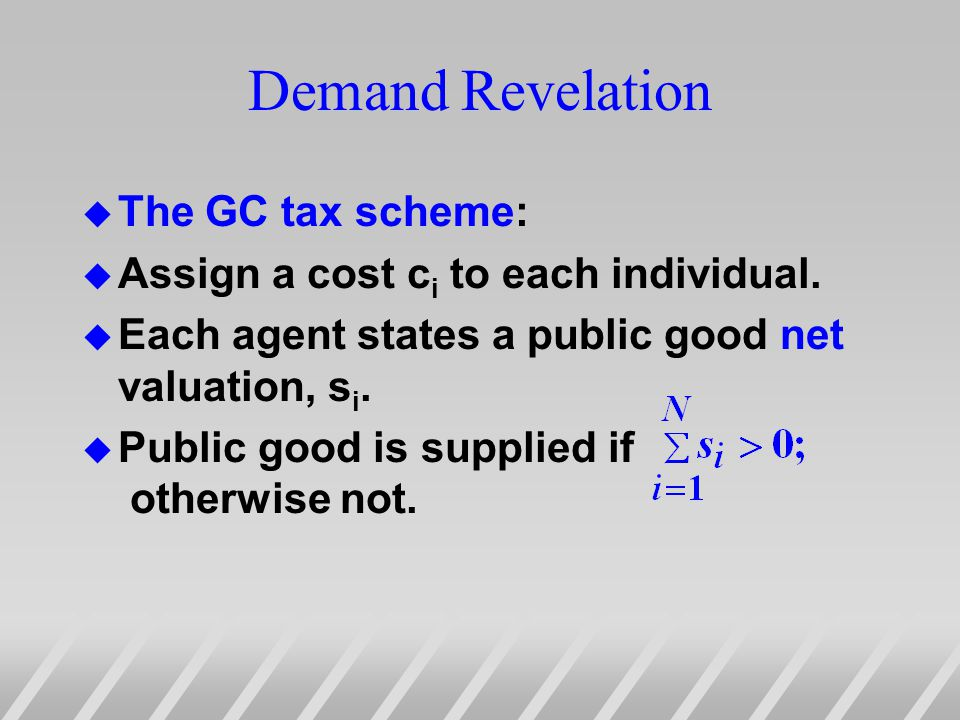 Demand Revelation u The GC tax scheme: u Assign a cost c i to each individual.