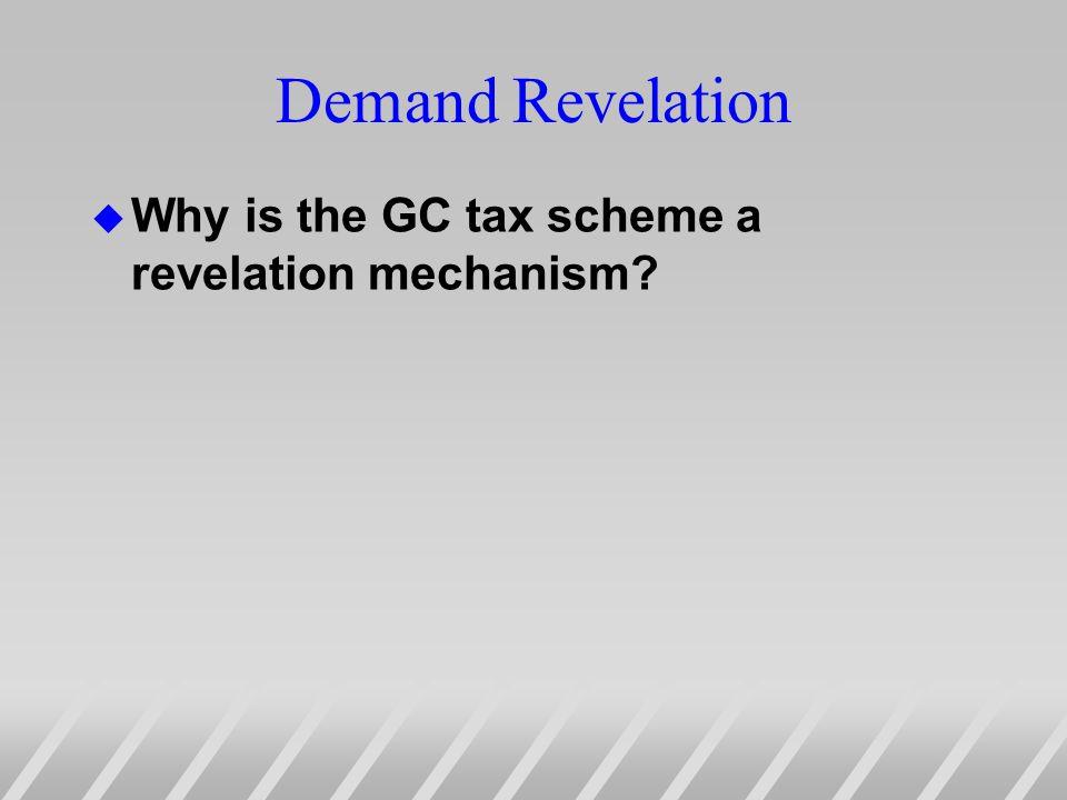 Demand Revelation u Why is the GC tax scheme a revelation mechanism?