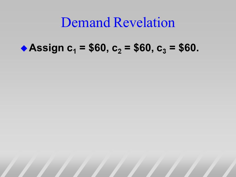 Demand Revelation u Assign c 1 = $60, c 2 = $60, c 3 = $60.