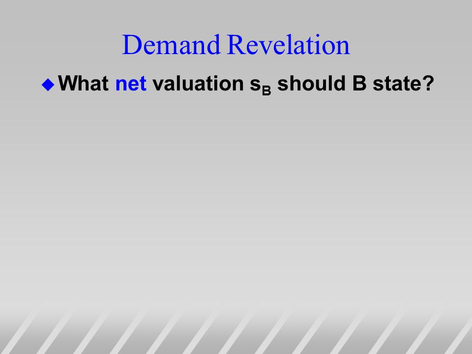 Demand Revelation u What net valuation s B should B state?