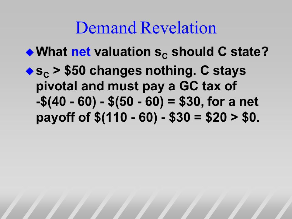 Demand Revelation u What net valuation s C should C state.