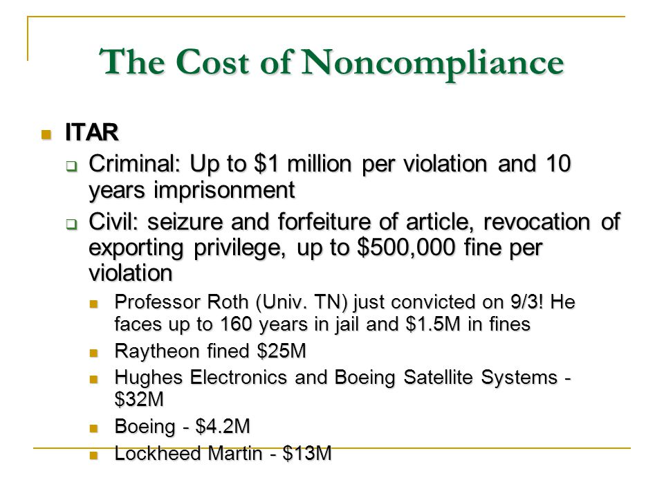 The Cost of Noncompliance ITAR ITAR Criminal: Up to $1 million per violation and 10 years imprisonment Criminal: Up to $1 million per violation and 10 years imprisonment Civil: seizure and forfeiture of article, revocation of exporting privilege, up to $500,000 fine per violation Civil: seizure and forfeiture of article, revocation of exporting privilege, up to $500,000 fine per violation Professor Roth (Univ.