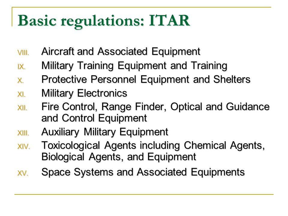 Basic regulations: ITAR VIII. Aircraft and Associated Equipment IX.