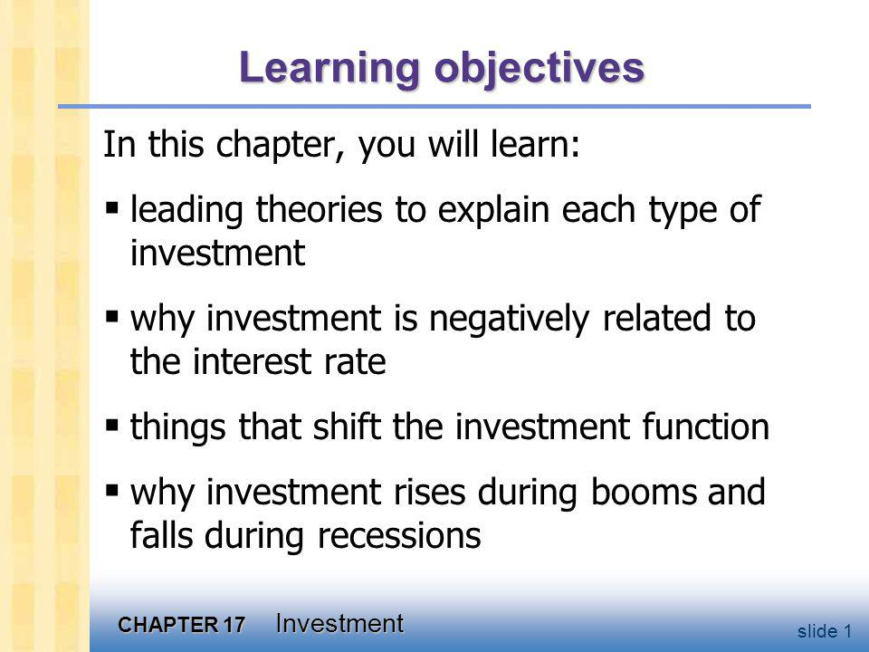 CHAPTER 17 Investment slide 1 Learning objectives In this chapter, you will learn: leading theories to explain each type of investment why investment is negatively related to the interest rate things that shift the investment function why investment rises during booms and falls during recessions