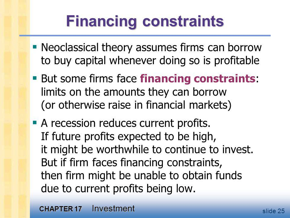 CHAPTER 17 Investment slide 25 Financing constraints Neoclassical theory assumes firms can borrow to buy capital whenever doing so is profitable But some firms face financing constraints: limits on the amounts they can borrow (or otherwise raise in financial markets) A recession reduces current profits.